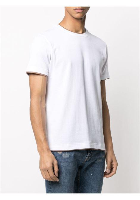 White and beige cotton round-neck T-shirt  ELEVENTY |  | C75TSHC11-TES0C17401-04