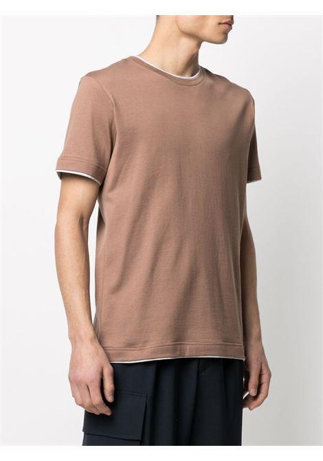 Camel brown and white cotton contrast-trim cotton T-Shirt  ELEVENTY |  | C75TSHC11-TES0C17404-13