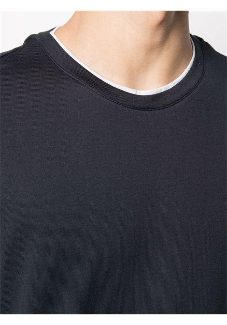 Blue cotton contrasting-trim short-sleeve T-shirt  ELEVENTY |  | C75TSHC11-TES0C17411-13