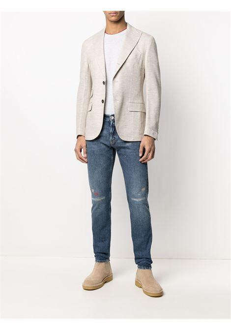 Grey cotton red contrast-trim short-sleeve T-shirt  ELEVENTY |  | C75TSHC11-TES0C17413-18