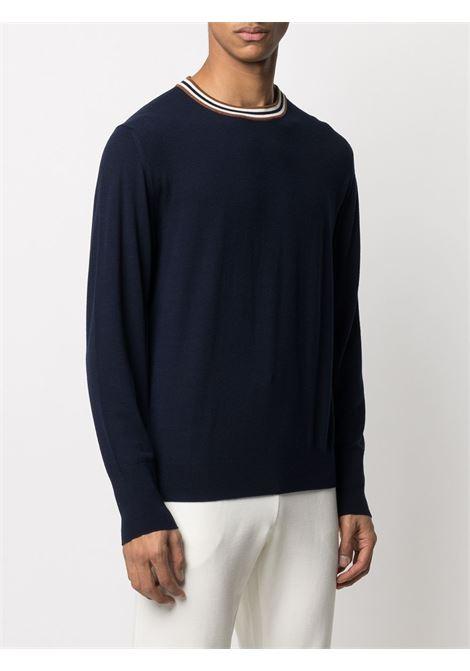 Blue wool jumper featuring white stripe detailing on the round neck ELEVENTY |  | C76MAGC18-MAG0C01011