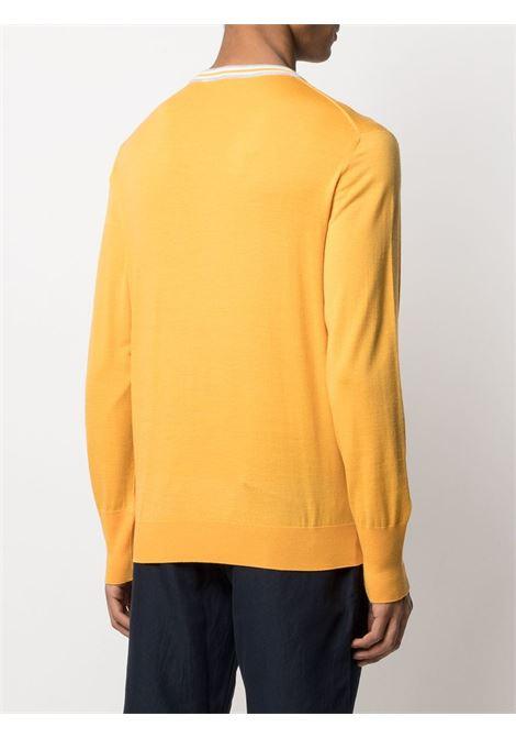 Mustard yellow jumper featuring white stripe detailing on the round neck ELEVENTY |  | C76MAGC18-MAG0C01028