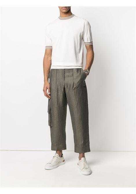 White cotton T-shirt featuring stripe detailing ELEVENTY |  | C76MAGC20-MAG0C01101