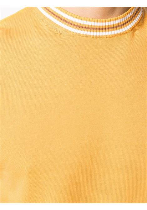 Banana yellow cotton short-sleeve contrast-trim sweater  ELEVENTY |  | C76MAGC20-MAG0C01128