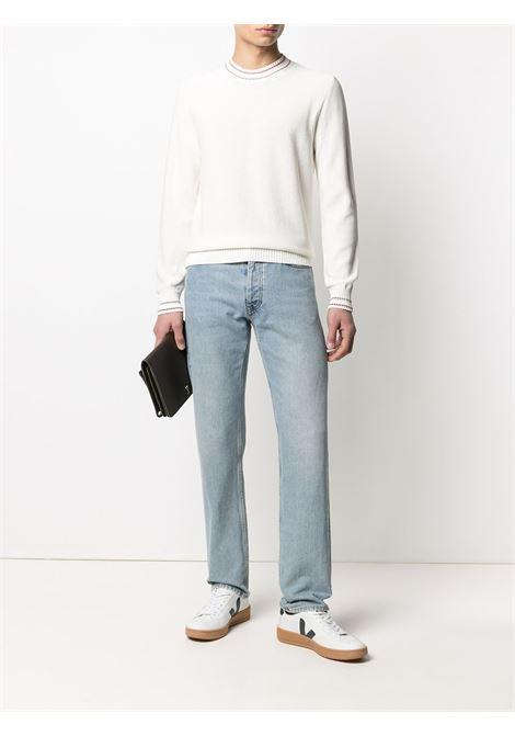 White cotton contrast-trim knitted jumper featuring ribbed-knit edge ELEVENTY |  | C76MAGC28-MAG0C01301