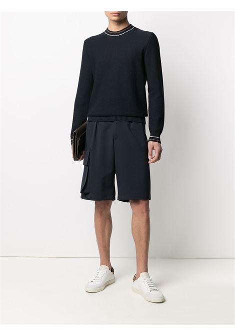 Navy blue cotton contrast-trim knitted jumper  ELEVENTY |  | C76MAGC28-MAG0C01311