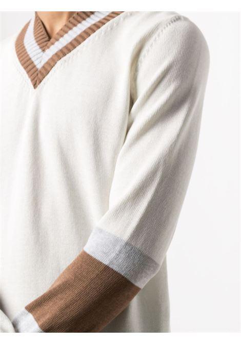 White and brown cotton V-neck jumper ELEVENTY |  | C76MAGC33-MAG0C01601