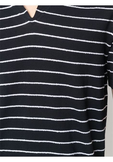 Navy blue cotton striped v-neck sweater featuring horizontal stripe pattern ELEVENTY |  | C76MAGC50-MAG0C05211