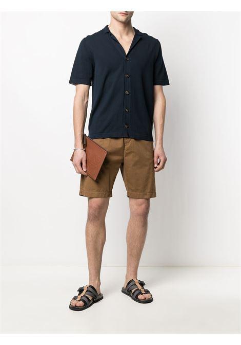 Dark blue cotton knitted shirt featuring cutaway collar ELEVENTY |  | C76MAGC51-MAG0C05211