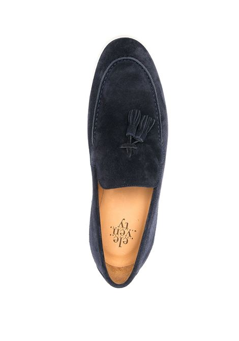Navy blue suede and leather tassel-detail loafers   ELEVENTY |  | C77SCAC04-SCA0C00811